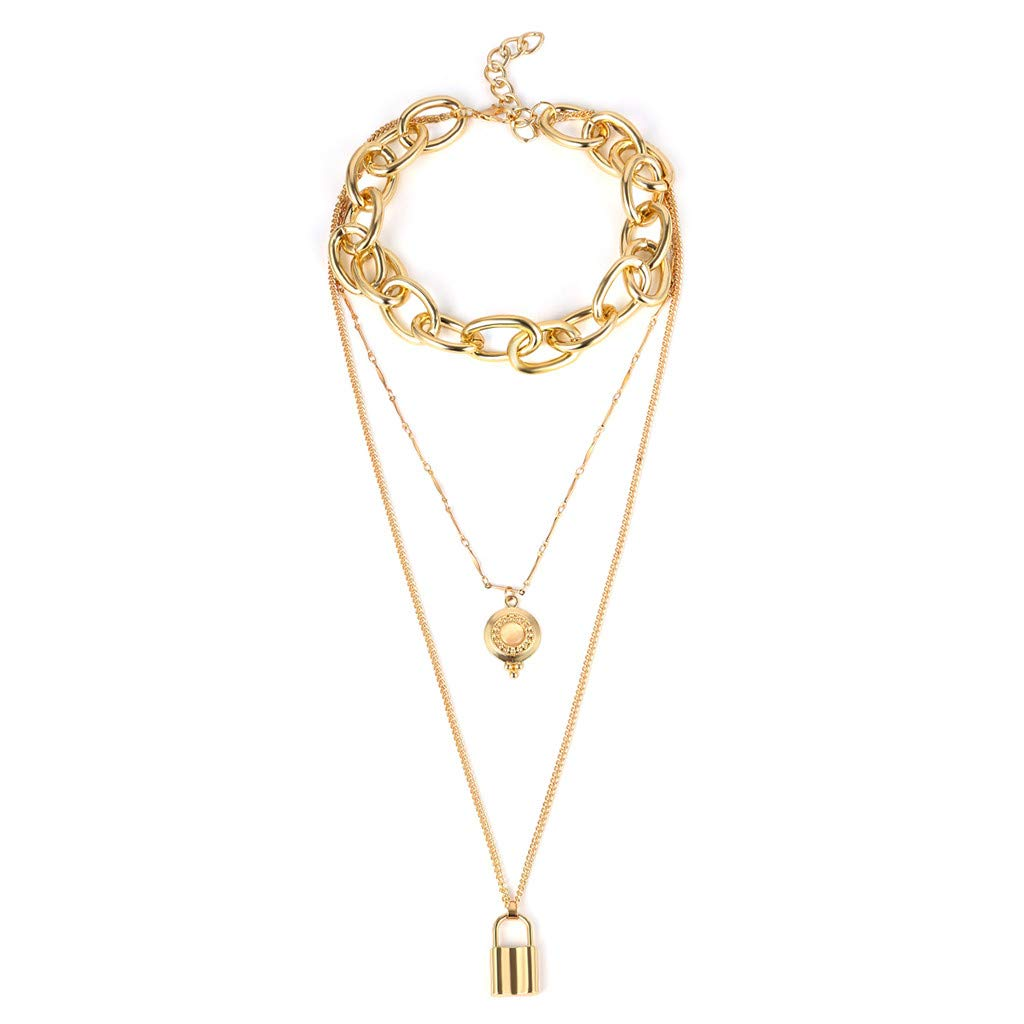 HomeMals Fashion Trend Personality Retro Metal Copper Plate Lock Sweater Chain Ladies Multilayer Necklace Jewelry Jewelry