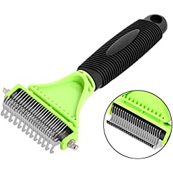 Albabara Dematting Comb Pet Grooming Brush Tool Deshedding Tool Undercoat Rake 2 Sided Steel Rake Brush for Small Medium Large Dogs and Cats