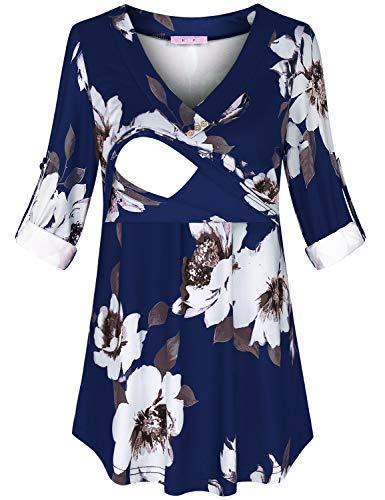 JOYMOM Fall Nursing Tops,Maternity Beautiful V Neck 3 4 Roll Up Long Sleeve Pleated Breastfeeding Clothes Elastic Loose Home Wear Lactation T-Shirts Blue Flower L
