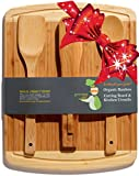 ♻ Bamboo Cutting Board Housewarming & Wedding Gift Set - With Bonus 3-Piece Kitchen & Cooking Utensils - Wooden Spoon, Salad Tongs & Wood Spatula - Greener Chef