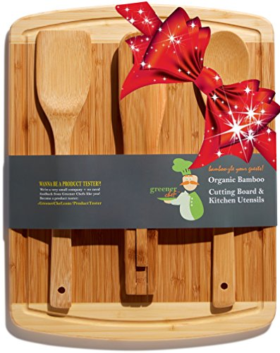 Bamboo Cutting Board Housewarming & Christmas Holiday Gift Set - With Bonus 3-Piece Kitchen & Cooking Utensils - Wooden Spoon, Salad Tongs and Wood Spatula - Best Mother's Day and Wedding Gift Idea