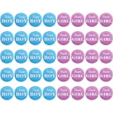 Zhanmai 40 Pieces Gender Reveal Button Pins Boy Girl Pinback Button Pins for Team Baby Shower Party Favors, 2 Inches