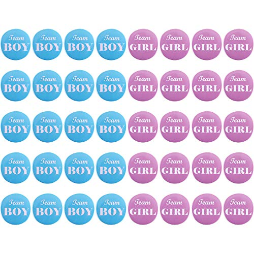 Zhanmai 40 Pieces Gender Reveal Button Pins Boy Girl Pinback Button Pins for Team Baby Shower Party Favors, 2 Inches -