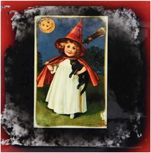 3dRose cst_6195_3 Vintage Halloween Witch Girl and Black Cat Ceramic Tile Coasters, (Black Cat Tile)