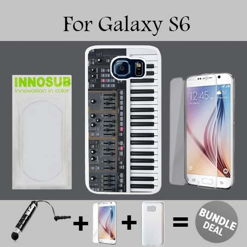 Synthesizer Custom Galaxy S6 Cases-White-Plastic,Bundle 3in1 Comes with HD Tempered Glass/Universal Stylus Pen by ()