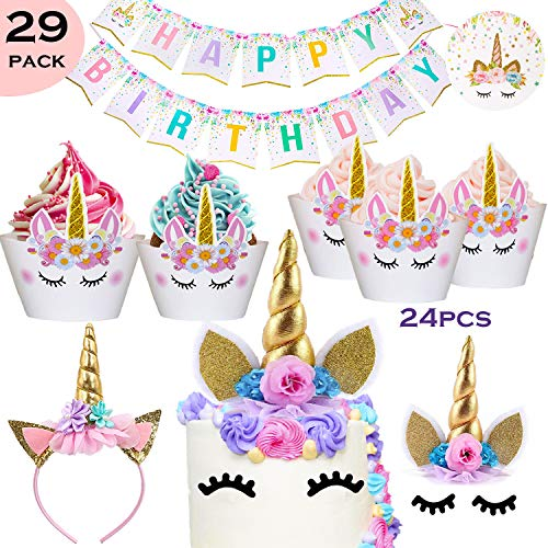 Bestus 29 Pack Unicorn Cake Topper With Eyelashes Headband Cupcake Wrappers And