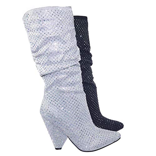 Retro Rhinestone Embellished Glitter Boots On Cone Tapered Heel
