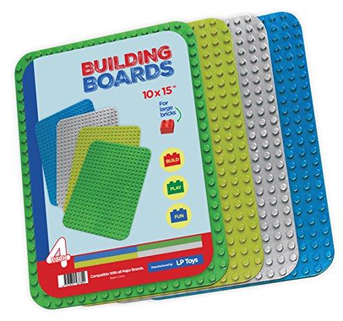 Compatible Baseplates for Large Building Blocks (DUPLO Compatible) 4 Pack Set 1 Green,1 Light Green,1 Grey,and 1 Blue Large 10