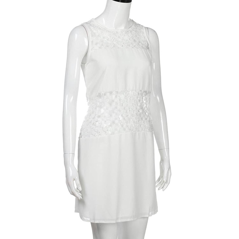 Oyedens Women Beach Sleeveless Lace Boho Mini Dress: Amazon.co.uk: Clothing
