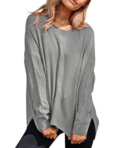 ACKKIA Women Casual Long Sleeve Knit Sweater Textured Slit Jumper Pullover Tops Grey XX-Large (Fits US 20-US 22)