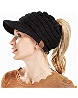 db5e81f2be4 Knit High Ponytail Hat,Beanie Winter Hats for Women,High Bun Messy Visor  Beanie