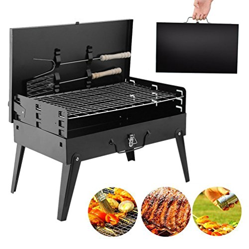 Barbecue Grill Portable Cooker Stove Smoker Folding Design Charcoal Steel Survival Accessory Checklist Traveler Idea Best Gift for Garden Party, Traveling Trip, Outdoor Camping, Picnic Activity - For Camping Trip Checklist