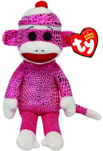 TY Beanie Baby 8 Plush SOCK MONKEY, PINK SPARKLE