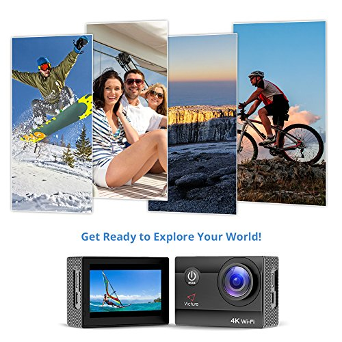 Victure Action Camera 20MP Diving Meter Sport Cam with Rechargeable Batteries Accessories Surfing