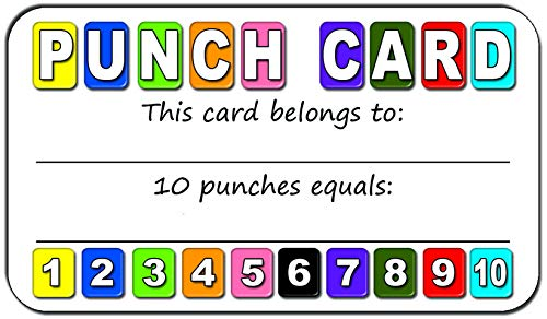 Punch Cards (Pack of 100) for Loyalty Program for Classrooms or Retail Stores