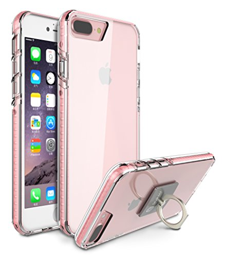 Case Glow - iPhone 8 Plus Cover / iPhone 7 Plus Case, Style4U Scratch Resistant Shock Absorbent Slim Transparent Crystal Clear Back TPU Bumper Glow In The Dark Case Cover w/ Ring Holder Kickstand [Pink]
