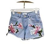 New Women Shorts Rose Floral Embroidery Denim Shorts Ripped High Waist Irregular Shorts Female # 5027,Blue,S