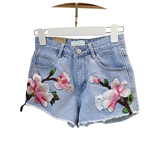 New Women Shorts Rose Floral Embroidery Denim Shorts Ripped High Waist Irregular Shorts Female # 5027,Blue,S by LOKOUO Shorts