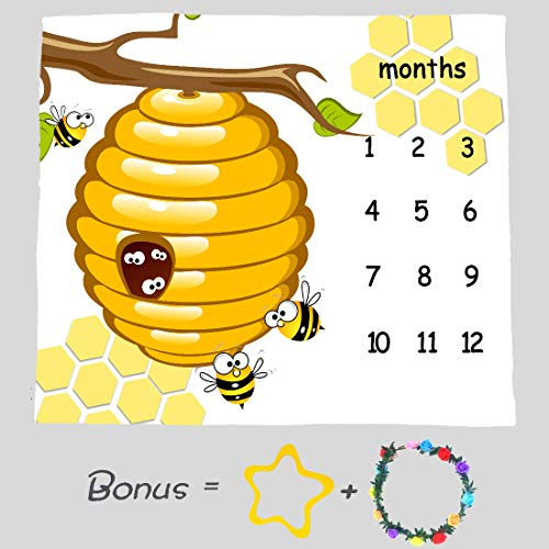 Honeycomb Bee Baby Milestone Blanket, Large 48x40in Soft Fabric, Months Growth Tracker Props, Baby Shower Newmom Gift, Included 2 Bonus Marker LHFS835