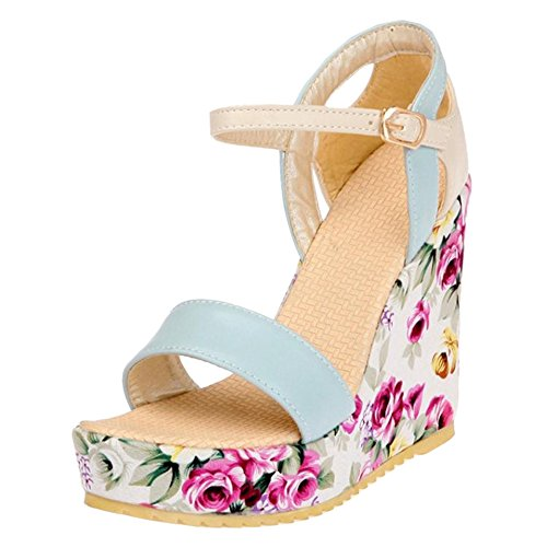 Blue Coolcept Fashion Sandals Shoes Wedge Women Heel q7aY4q