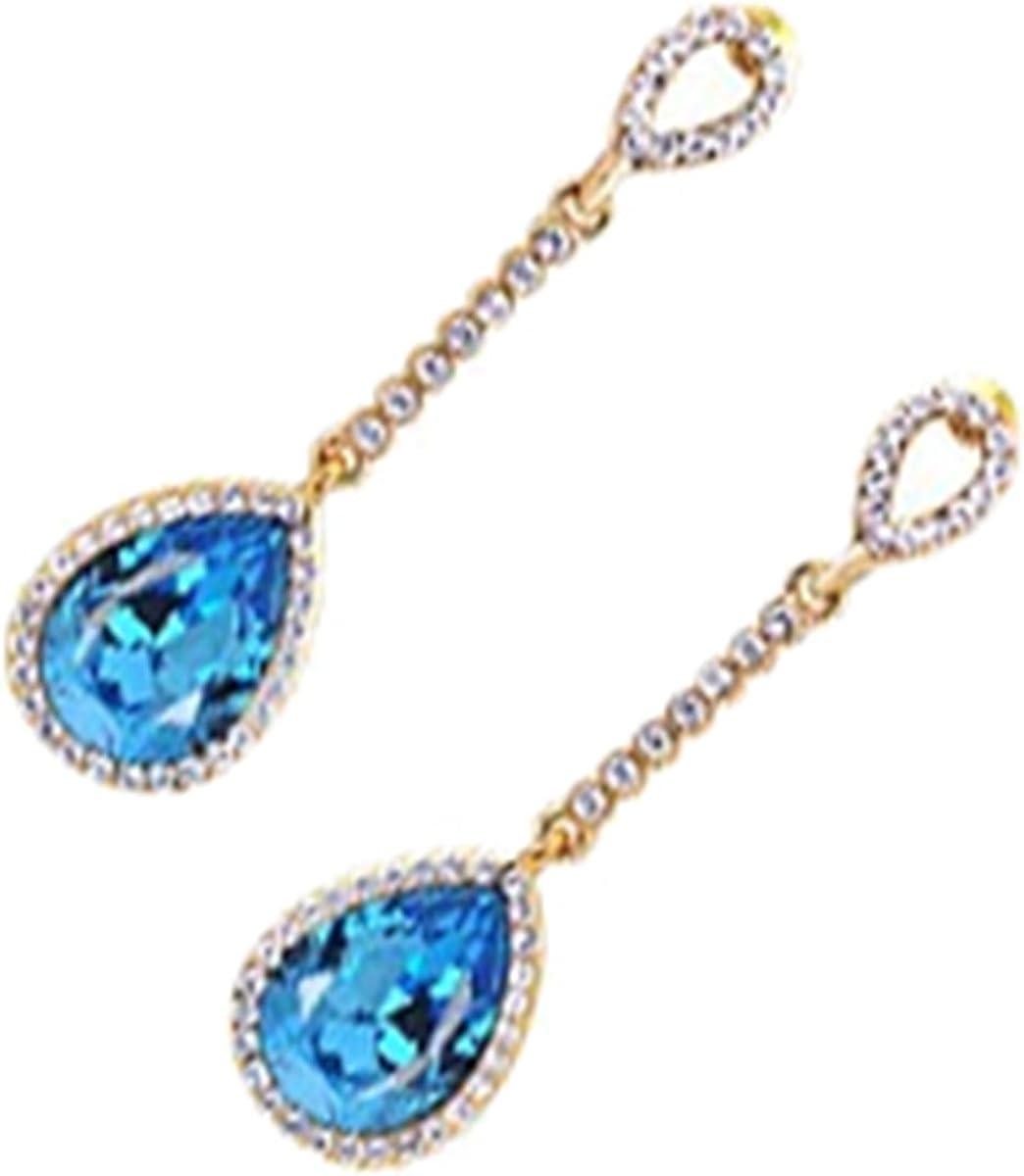 GWG Jewellery Pendientes Mujer Regalo Pendientes Colgantes, Chapados en Oro 18K Cristal Redondo Colorado Colgado en Aro con Cierre Decorado con Piedras Brillantes para Mujeres