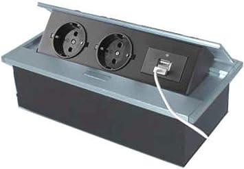 Thebo APS 11 USB mesa enchufe aluminio de 2 enchufes absenkbar ...