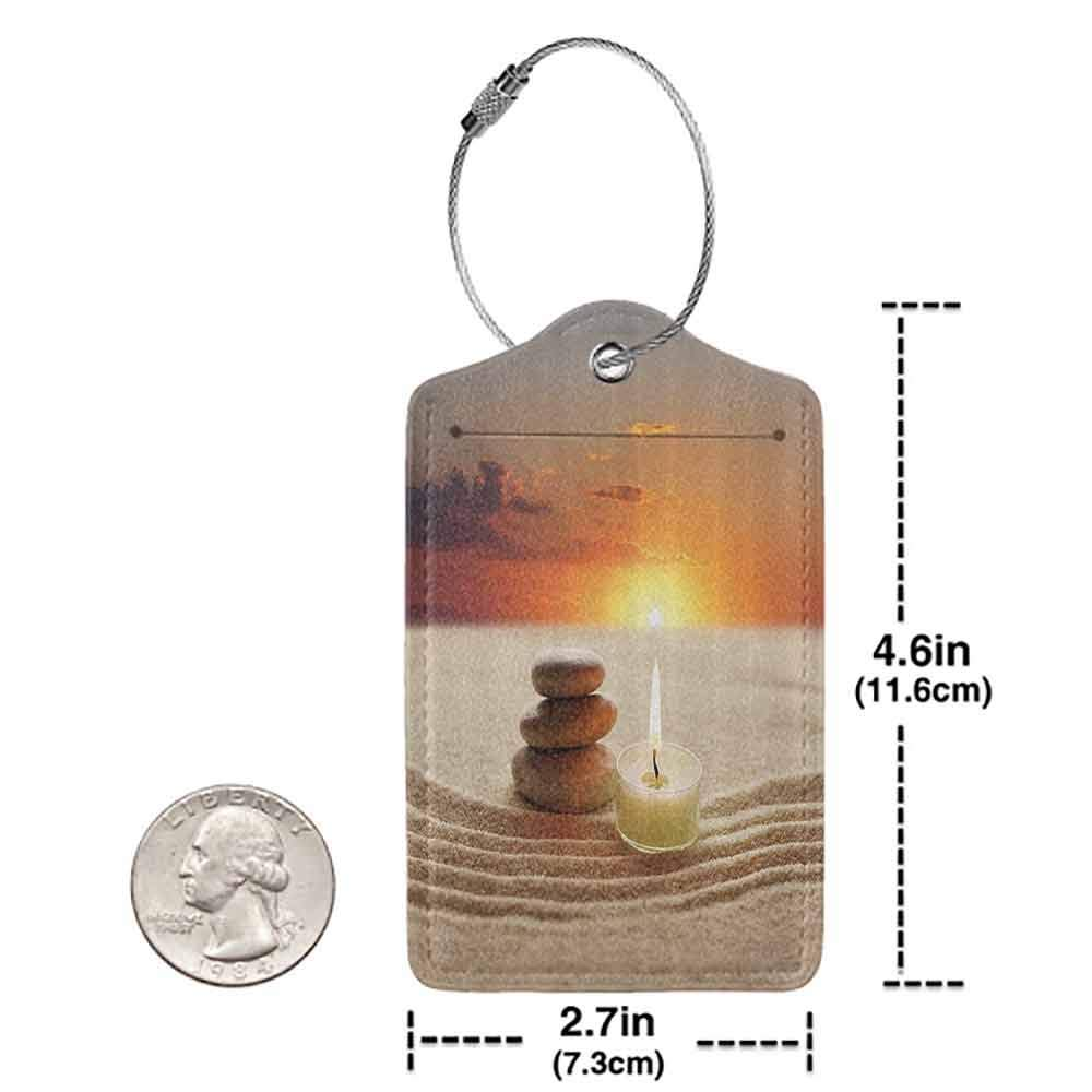 Modern luggage tag Spa Decor Little Candle with Three Stones Middle of Sand with Sunset Landscape Suitable for children and adults White Brown and Orange W2.7 x L4.6