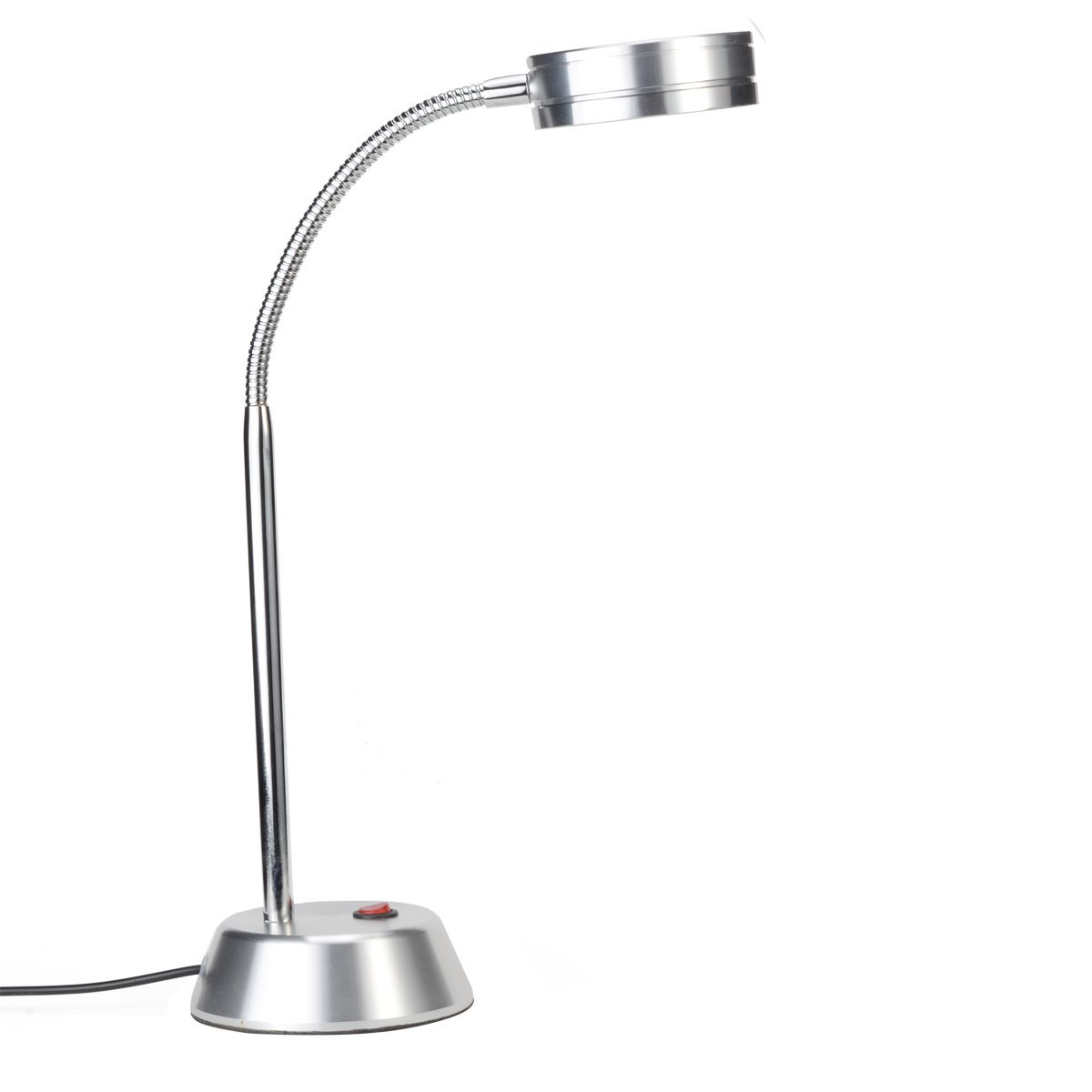 Smart/Simple Designed LED Desk Lamp with Chromed Flexible Gooseneck, Aluminum Material Base (Cold White Light)