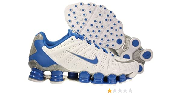 new style be30b 77df9 Amazon.com | Womens Nike Shox TLX Running Shoes White / Soar Blue /  Metallic Silver 488344-101 | Running