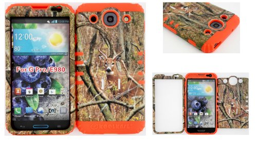 LG Optimus G Pro E980 Real Deer on Camo Mossy Design Hard Plastic Snap on + Orange Silicone Kickstand Cover Case (Included: Wristband, Screen Protector and Pry Tool Exclusively By Wirelessfones TM)