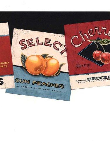 Die Cut Fruit Wallpaper Border - Wallpaper Border Country Fruit & Produce Labels Die Cut