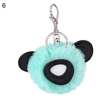 prettDliJUN Cute Panda Ears Pompom Car Keys Holder Keychain Women s Bag  Pendant Keyring Key Holder Light 4435feee6e
