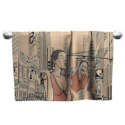 Mannwarehouse Jazz Music Decor Soft Bath Towel an Jazz Singer with Double-Bass Player in a Street of New York Urban Lifestyle W14 x L27 Brown Beige