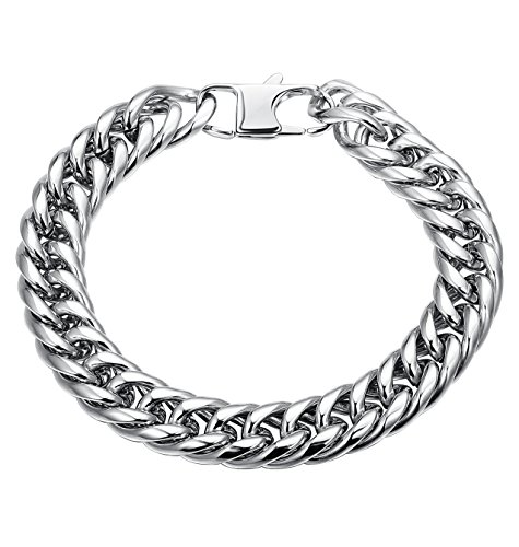 Bold Curb Link Bracelet - LOYALLOOK 12MM Men's Stainless Steel Bracelet Link Wrist Curb High Polished Silver Tone 8.5