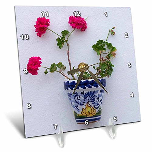 3dRose Danita Delimont - Flowers - Spain, Andalusia. Arcos de la Frontera. Painted ceramic flower pot. - 6x6 Desk Clock (dc_277888_1) by 3dRose