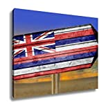 Ashley Canvas, Hawaii Flag Wooden Sign On Beach, Home Decoration Office, Ready to Hang, 20x25, AG6109801
