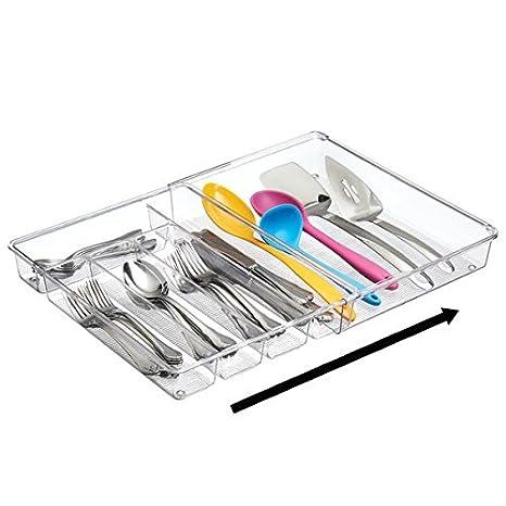 mDesign Cubertero para cajones de cocina extensible - La bandeja para cubiertos perfecta - Ideal para guardar cucharas, cuchillos, tenedores y otros ...