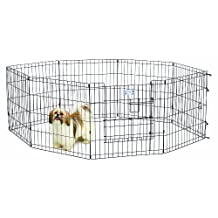 Midwest Homes for Pets Exercise Pen for Pets with Split Max Lock Door, 24-Inch, Black