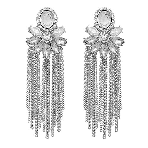 RIAH FASHION Sparkly Rhinestone Chandelier Drop Statement Earrings - Bridal Wedding Crystal Cubic Zirconia Dangles Cascade, Teardrop, Fringe Tassel, Waterfall Duster (Flower Chain Tassel - Silver)