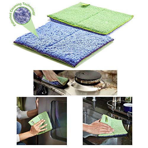 Nano-Knockout Ultra-Microfiber Cloth - Kitchen Cleaning Scrubbing PADS - JUST ADD WATER No Detergents Needed – for Stubborn Stains around Sinks, Stovetop, Countertop – REMOVING GREASE with WATER