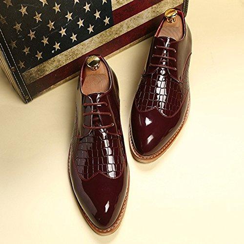 Pour MERRYHE Lacets Chaussures Microfibre En Derby Lacets Manteau De Cuir Derbies à Hommes En à Wine Peinture qxP0wqr7