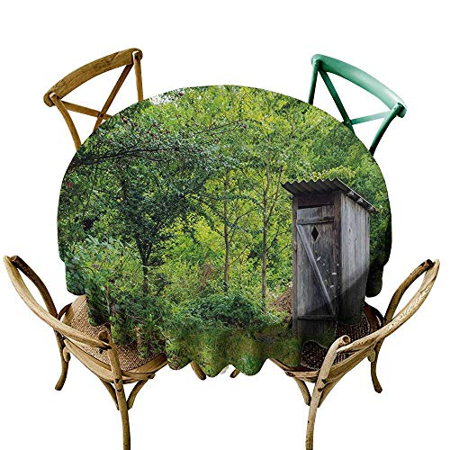 Wendell Joshua Camping Tablecloth 70 inch Outhouse,Old Ancient Cottage Outhouse in a Spring Mountian Forest Woods Image,Fern Green and Brown 100% Polyester Spillproof Tablecloths -