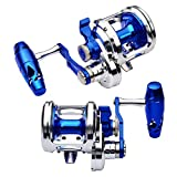 Proberos Fishing Trolling Reel Saltwater Heavy Duty Deep Ocean Big Offshore Round Aluminum Conventional Jigging Reels 1PC Silver Blue Left-Hand
