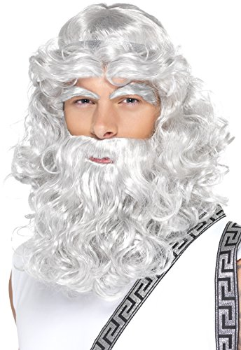 Smiffy's Men's Curly Grey Wig with Beard and Eyebrows, One Size, Zeus Wig, 5020570423011