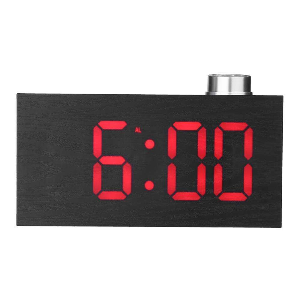 Digital Alarm Clock, YiMiky Electronic Digital Temperature Display with Clock Snooze Wood Grain Clock 3 Levels Brightness Alarm Clock Wood Digital Clock for Bedroom Office - Red