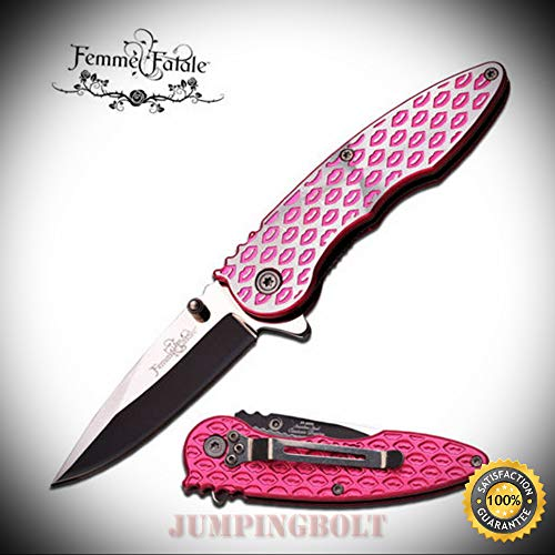 Spring Assisted Open PINK LIP Ladies Purse Folding Pocket Sharp Knife - Premium Quality Hunting Very Sharp EMT - Alpha Knife Folding