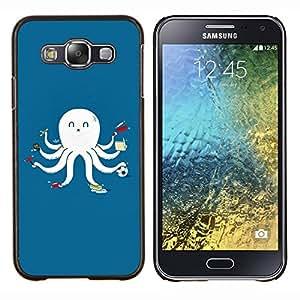 EJOOY---Cubierta de la caja de protección para la piel dura ** Samsung Galaxy E5 E500 ** --Divertido multitarea Pulpo Calamar