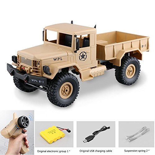 Graces Dawn Remote Control Car, Terrain RC Cars, Electric Remote Control Off Road military Truck, WPL B-1 1/16 2.4G 4WD Off-Road RC Military Truck Rock Crawler Army Car (yellow)