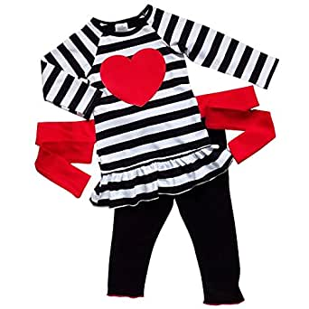 So Sydney Toddler Girls 2 Pc Valentine's Day Love Heart Print Ruffle Outfit (XL (6), Black Stripe Heart)