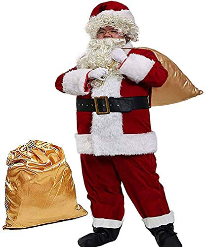 Obosoyo Men's Deluxe Santa Suit 10pc. Christmas Ultra Velvet Adult Santa Claus Costume L Red -